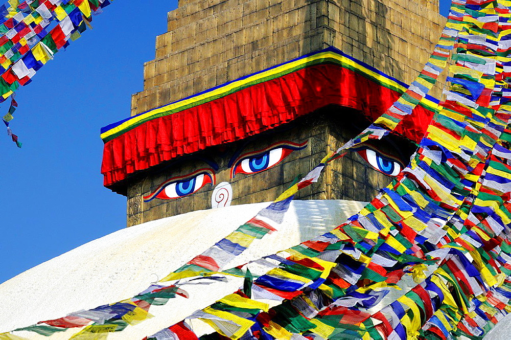 The eyes of Buddha on Bodnath stupa in Kathmandu. Nepal, Kathmandu, Bodnath.