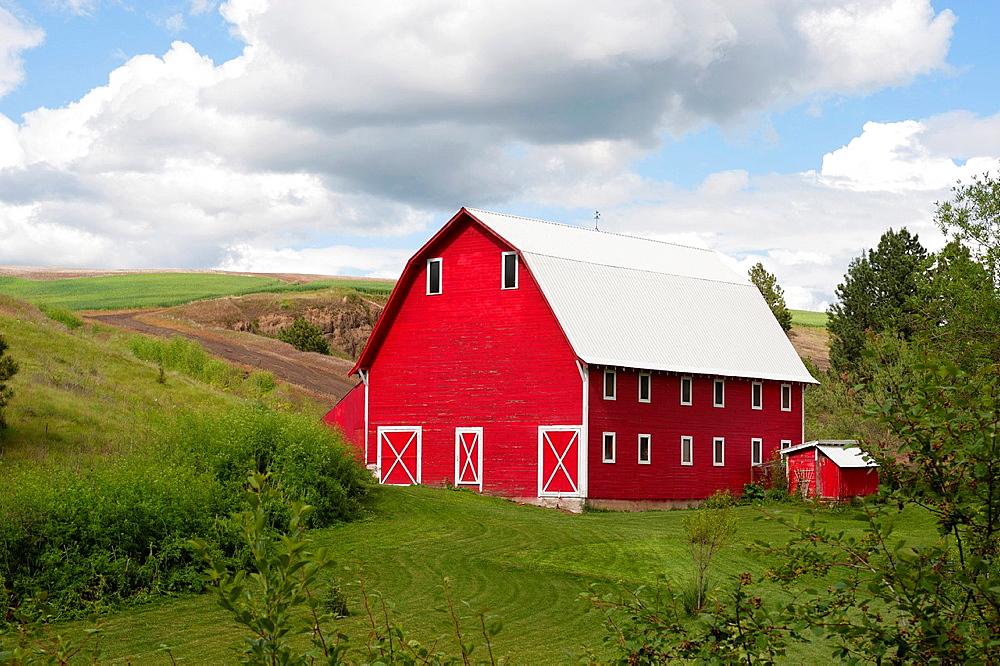 Red Barn Near Colfax In The Palouse, Eastern Washington State, Usa.