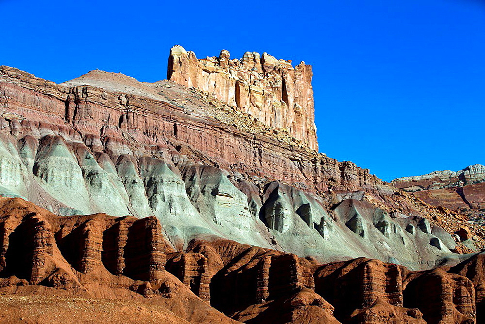 The Castle rock formation, Capitol Reef National Park, Utah, United States of America.