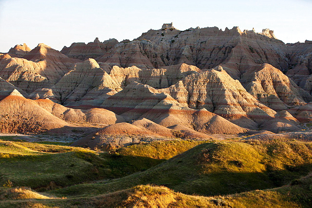 General view of rock formations, Badlands National Park, South Dakota, United States of America.