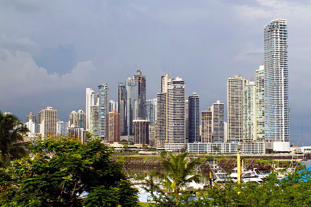 General view of sky scrapers, skyline, Panama City, Panama.