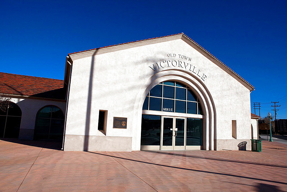 Exterior view of train station at Old Town Victorville, California, United States of America.