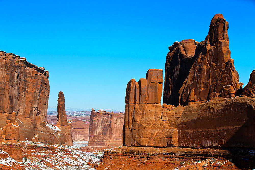 Courthouse Towers, large sandstone rock formations, Arches National Park, Utah, United States of America.