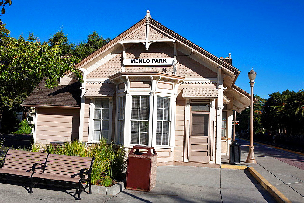 Menlo Park Railroad Station, oldest passenger train station in California, Menlo Park, California, United States of America.