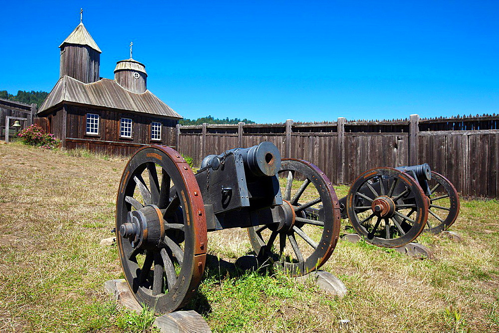Cannons outside of Holy Trinity St. Nicholas Chapel, Fort Ross State Historic Park, Sonoma County, California, United States of America.