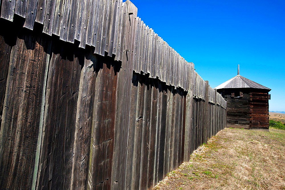 Detailed view of exterior of fort walls with blockhouse, Fort Ross State Historic Park, Sonoma County, California, United States of America.