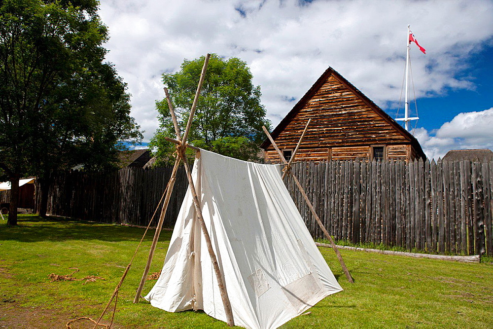Tent outside of fence of Fort William Historical Park, Thunder Bay, Ontario, Canada.