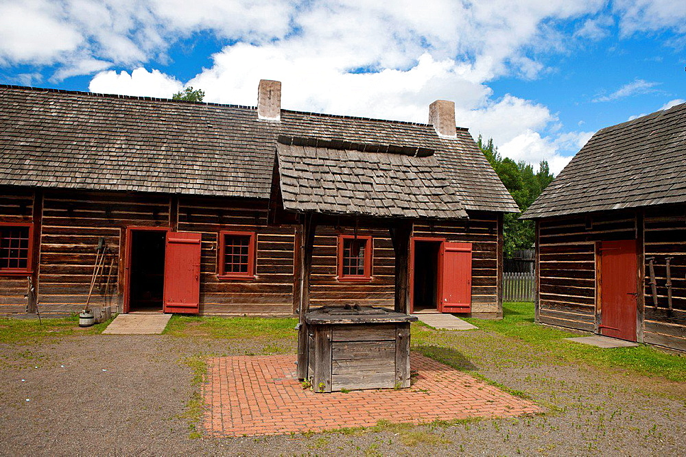 Well in the middle of Trades Square, Fort William Historical Park, Thunder Bay, Ontario, Canada.