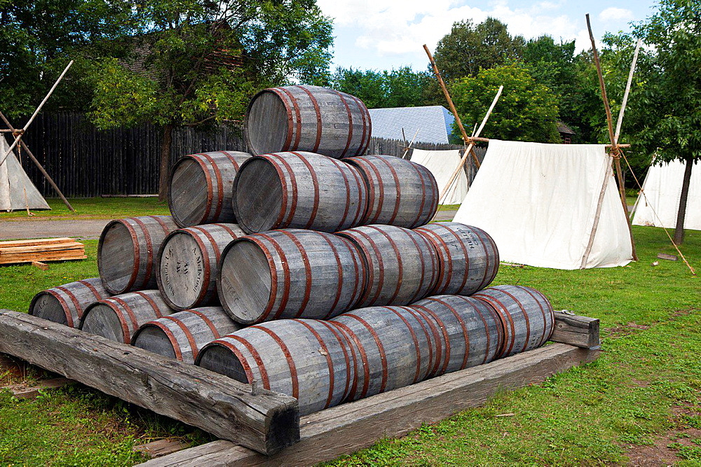Stacked barrels, Fort William Historical Park, Thunder Bay, Ontario, Canada.
