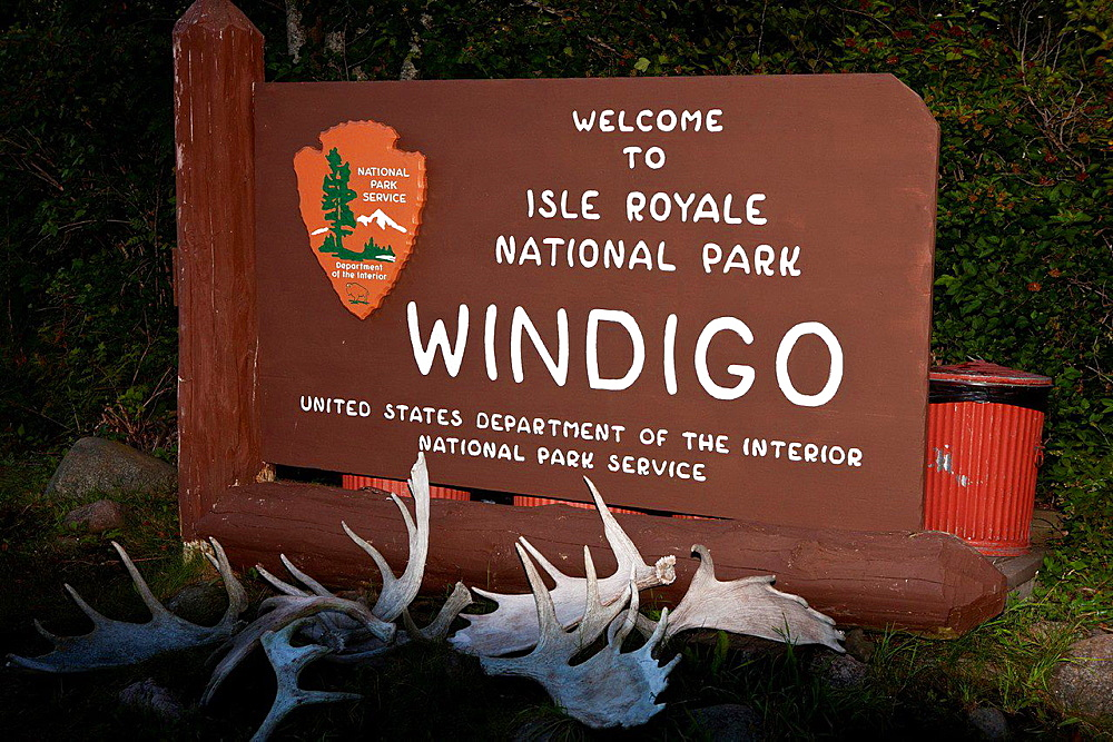 National Park Service welcome sign at Windigo, Isle Royale National Park, Michigan, United States of America.