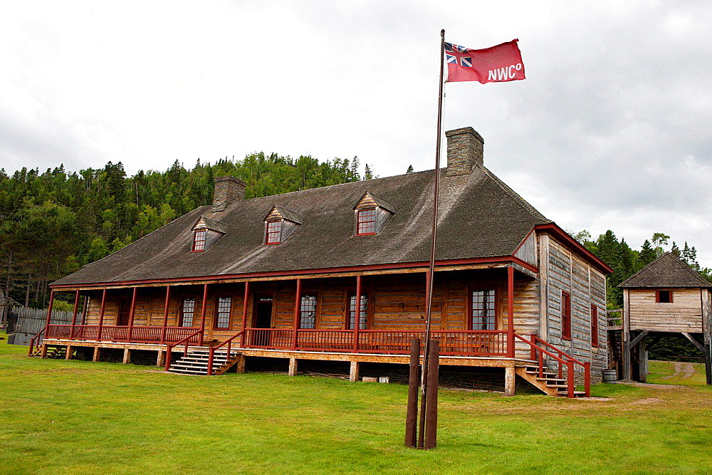 Exterior of the Great Hall with North West Company flag, Grand Portage National Monument, Grand Portage, Minnesota, United States of America.