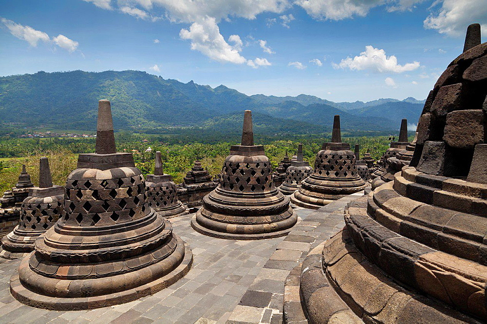 Stupas of the Borobudur Temple in IndonesiaStupas of the Borobudur Temple in Indonesia.