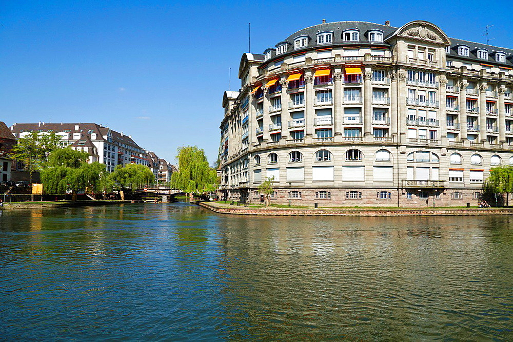 Exterior Facade on the Banks of the River Ill in Strasbourg, France.
