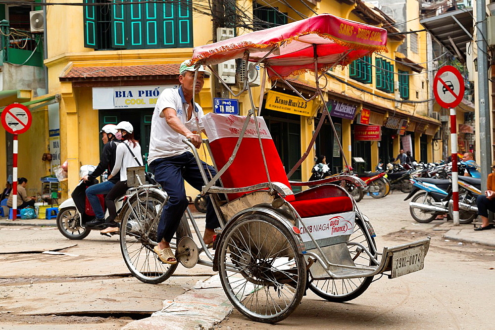 Traditional Tricycle in the Old Quarter of Hanoi, Vietnam.