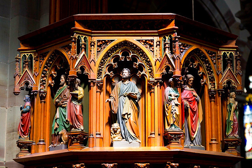 The Pulpit in the Church Saints Pierre et Paul in Obernai in the Alsace, France.