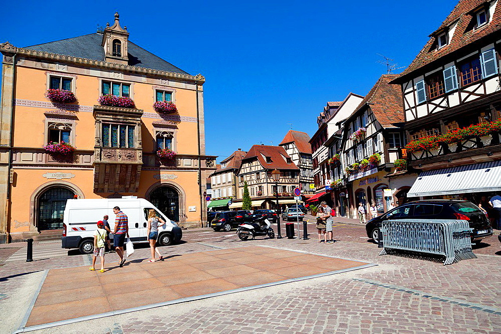 The Marketplace in Obernai in the Alsace, France.