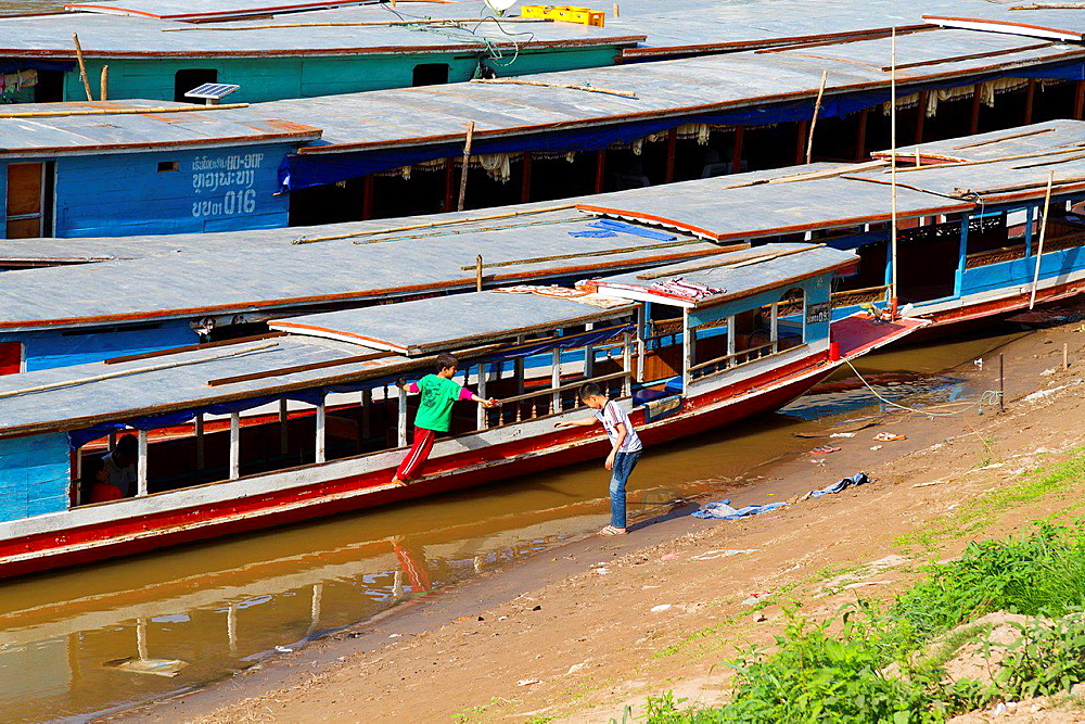 River Boats on the Banks of the Mekong in Luang Prabang, Laos