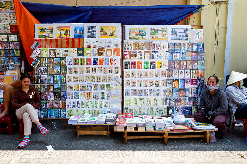 Sale of Postcards in Ho Chi Minh City, Vietnam.