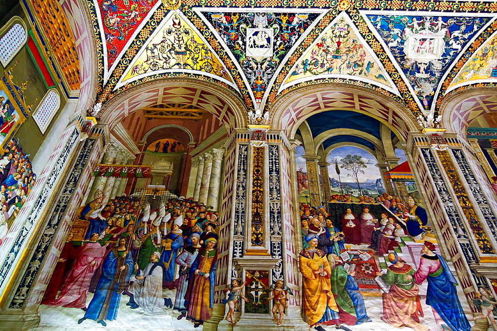 Frescos in the Piccolomini Library of the Cathedral in Siena, Italy.