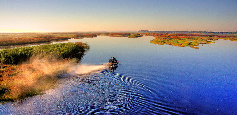 An airboat full of people glides down the St. John's River, Florida, USA.