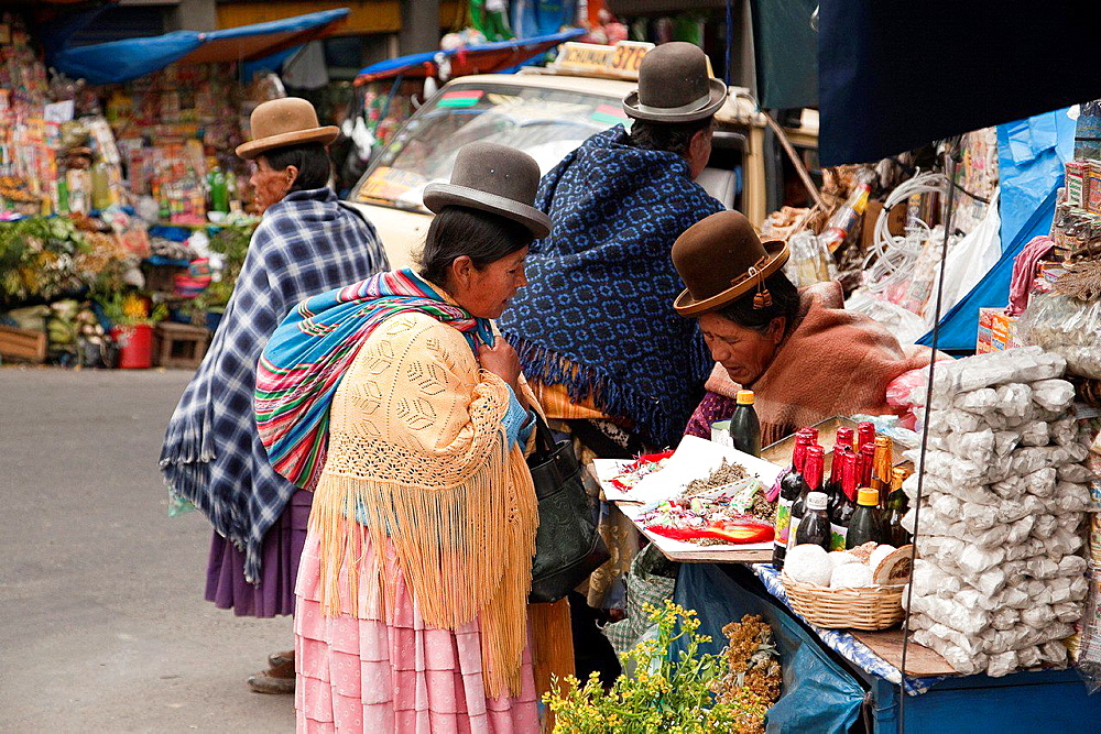 Vendors at street market, La Paz, Bolivia, South America.
