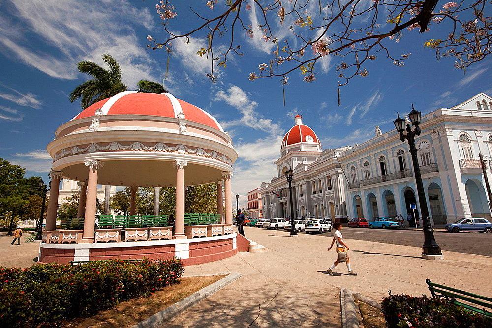 View from Parque Jose Marti to Palacio del Gobierno, Goverment House, Cienfuegos, Cuba.