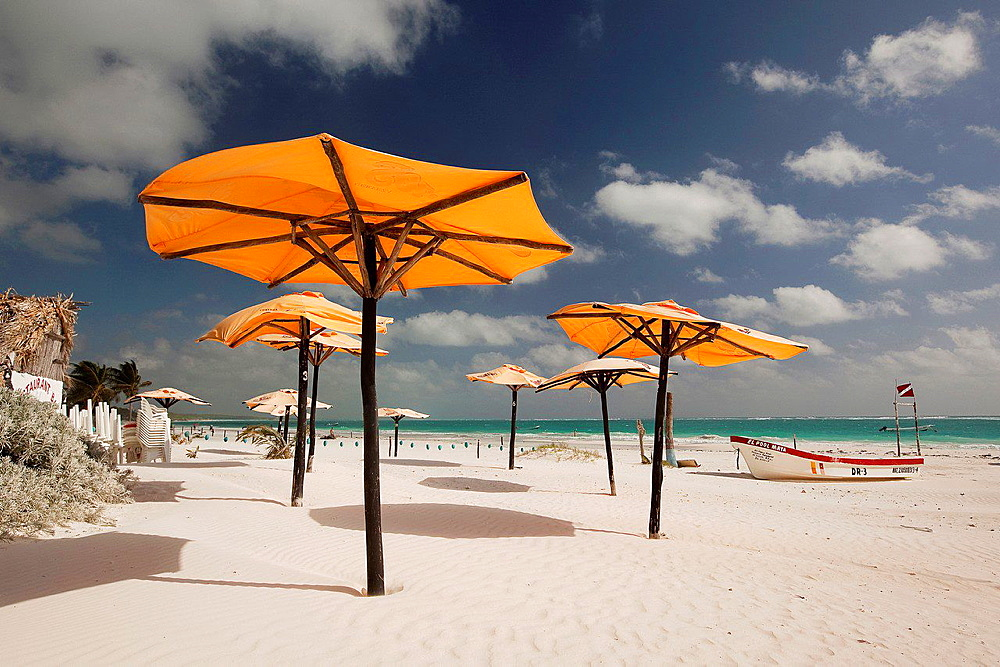 Parasols at the beach, Tulum, Quintana Roo, Yucatan Province, Mexico.