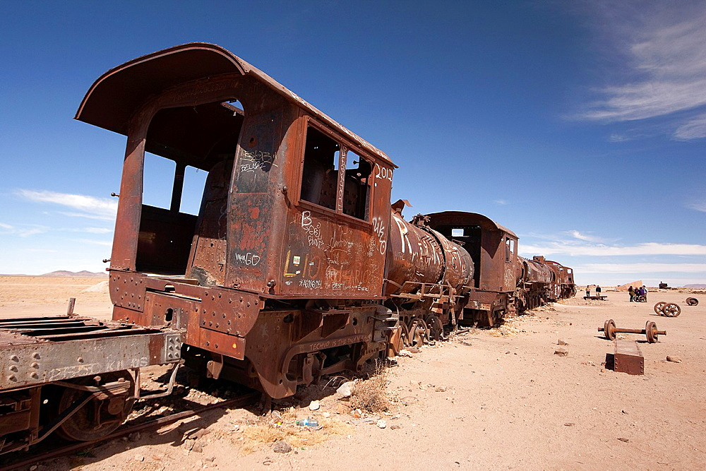 Train cemetery, Salar de Uyuni or Salt desert of Uyuni, Southern Altiplano, Bolivia, South America.