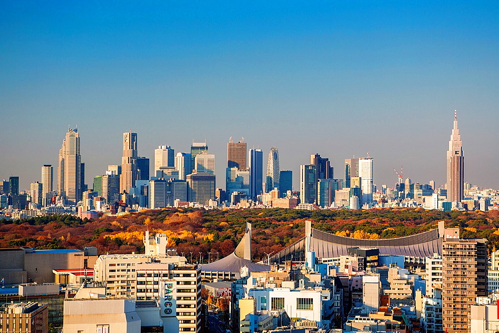 Japan, Tokyo City,Olympic Stadium, Meiji Jingu Park and Shinjuku Skyline.
