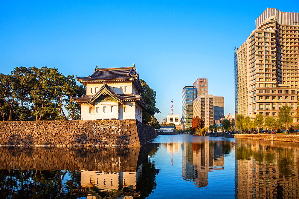 Japan, Tokyo City ,Imperial Palace Wall at Otemachi District.