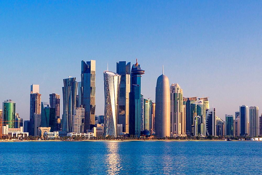 Qatar, Doha City, West bay Skyline.