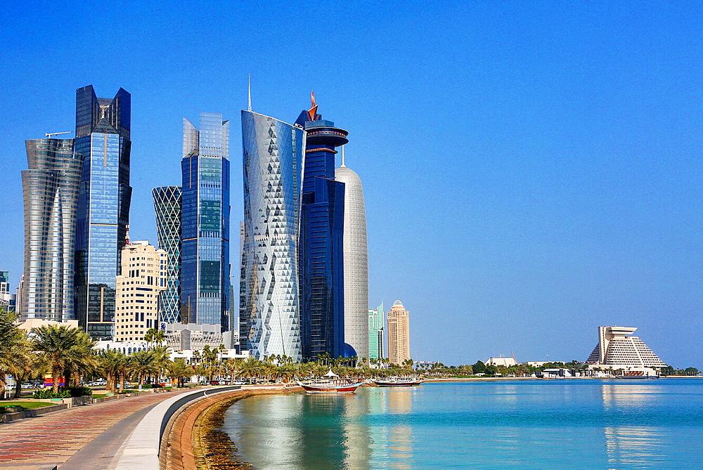 Qatar, Doha City, The Corniche, West bay skyline.