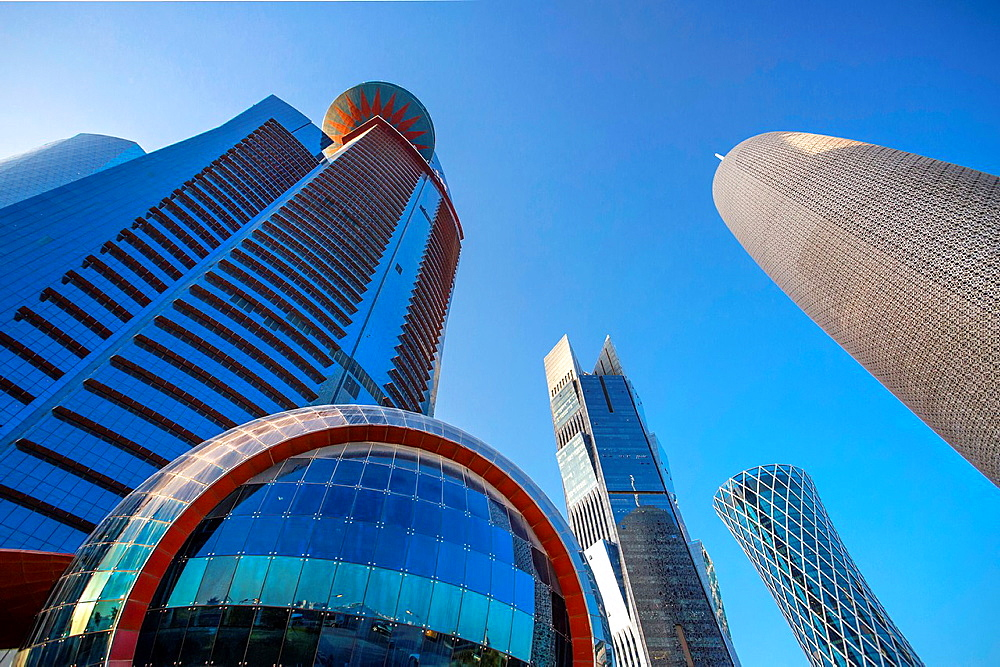 Qatar, Doha City, World Trade Center, Tornado Tower and Burj Qatar Bldgs.