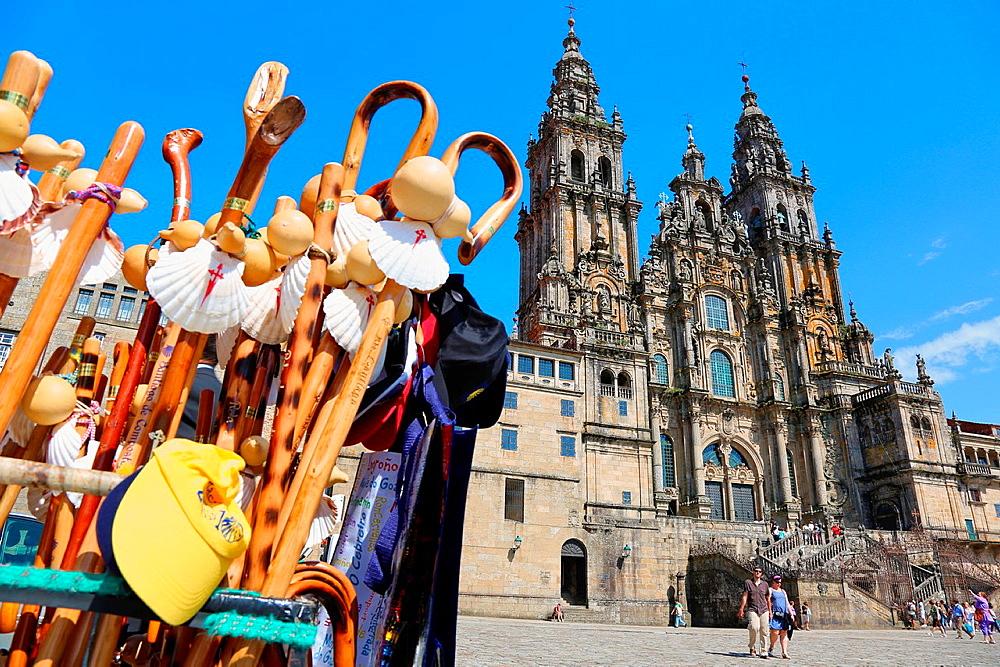Cathedral, Praza do Obradoiro, Santiago de Compostela, A Coruna province, Galicia, Spain.