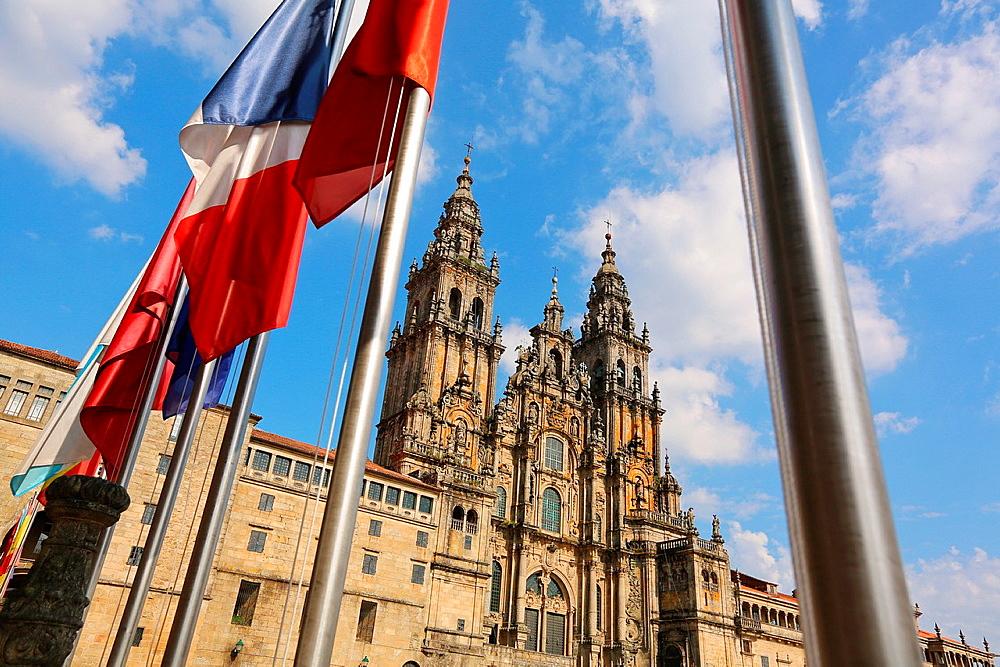 Cathedral from the Parador Hostal ReImage Available For Editorial Use Only Catolicos, Praza do Obradoiro, Santiago de Compostela, A Coruna province, Galicia, Spain