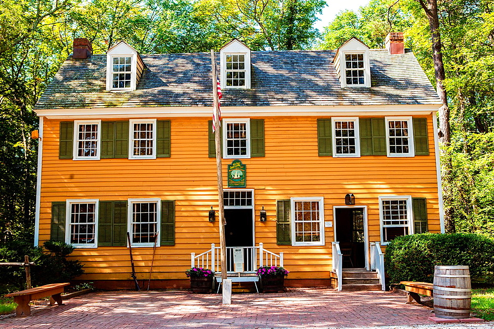 The Historic Dennisville Inn built in the Colonial Williamsburg style located at Cold Spring Historic Village in Cape May, New Jersey.