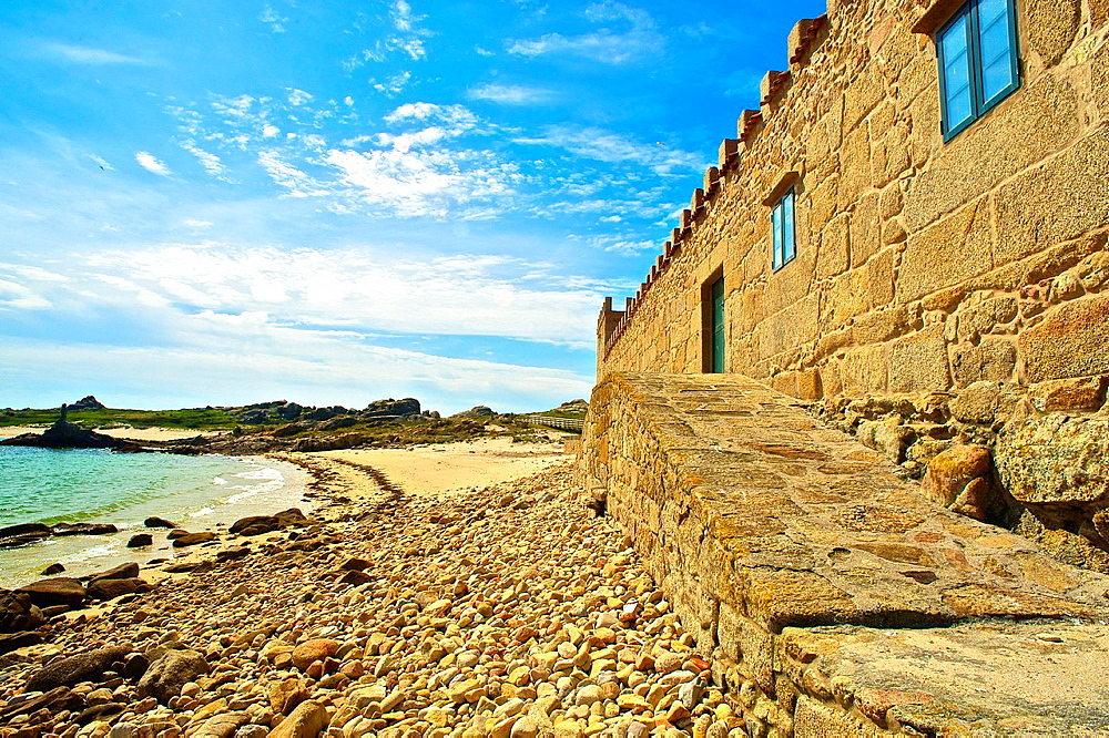 National Park of the Atlantic Islands of Galicia. Salvora Island. O Warehouse, the first salting of Galicia. Country house. The Lower Estuaries. Arosa bay. Ria de Arosa. Eastern Atlantic. Galicia. Spain. Europe.