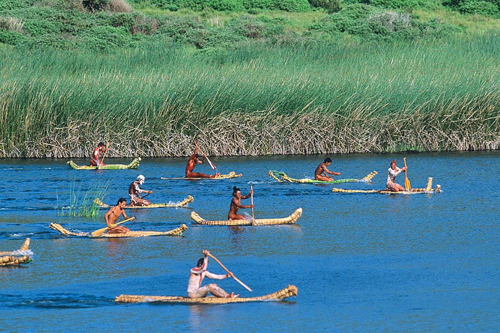 Tau'a Rapa Nui triathlon. Tapati Rapa Nui festival. Islander. Easter Island. Chile.