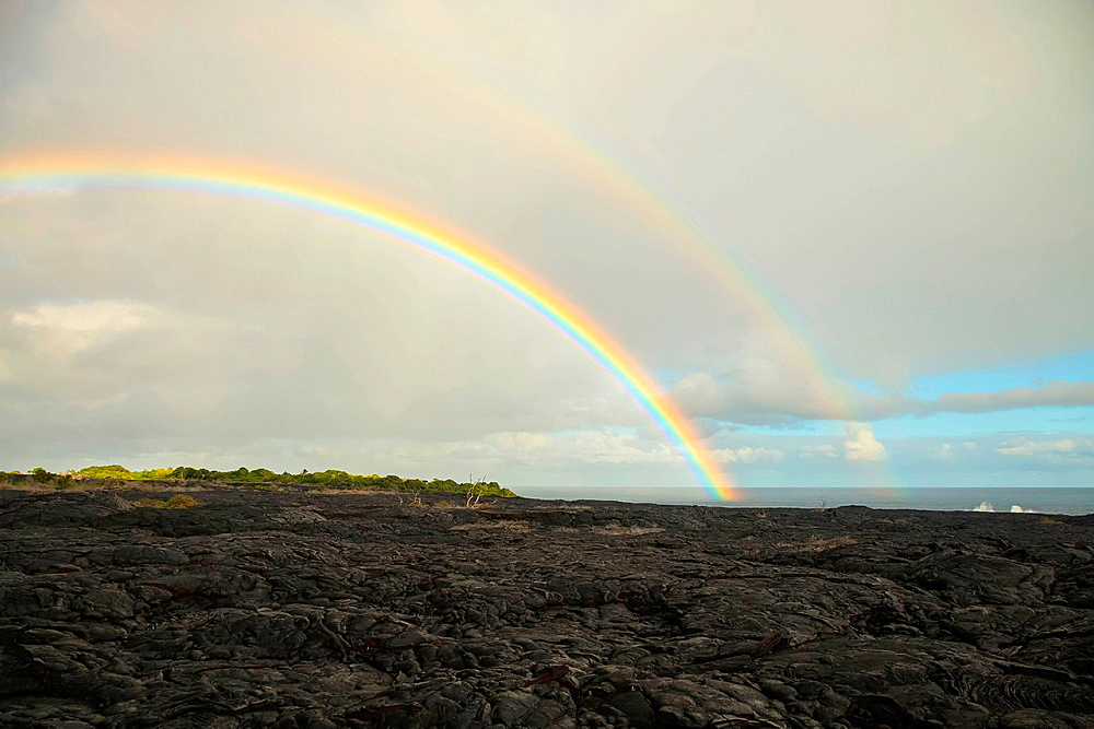 Double rainbow over Kilauea Lava Flow, Kalapana, Big, Island, Hawaii, USA
