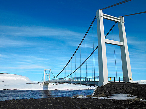 Suspension bridge over river Jokulsa a Fjollum, North Iceland
