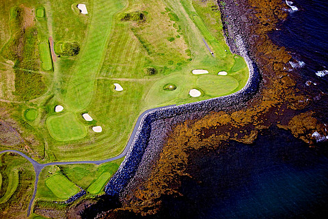 Aerial view of golf course on the Reykjanes peninsula, South West Iceland