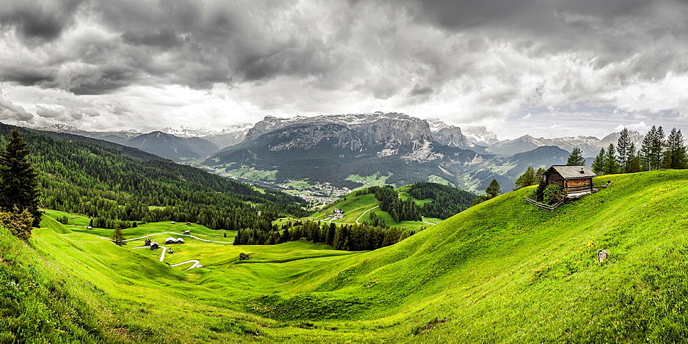 Green valley, Heiligkreuz, Alta Badia South Tyrol, Italy