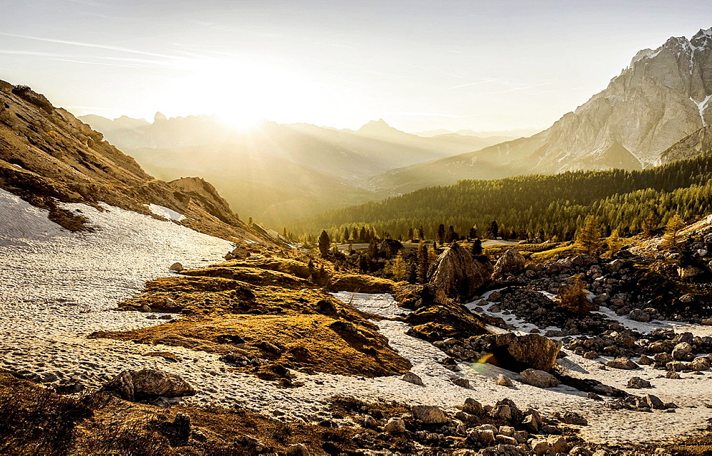 Mountain valley at sunrise, Valparola, Alta Badia South Tyrol, Italy