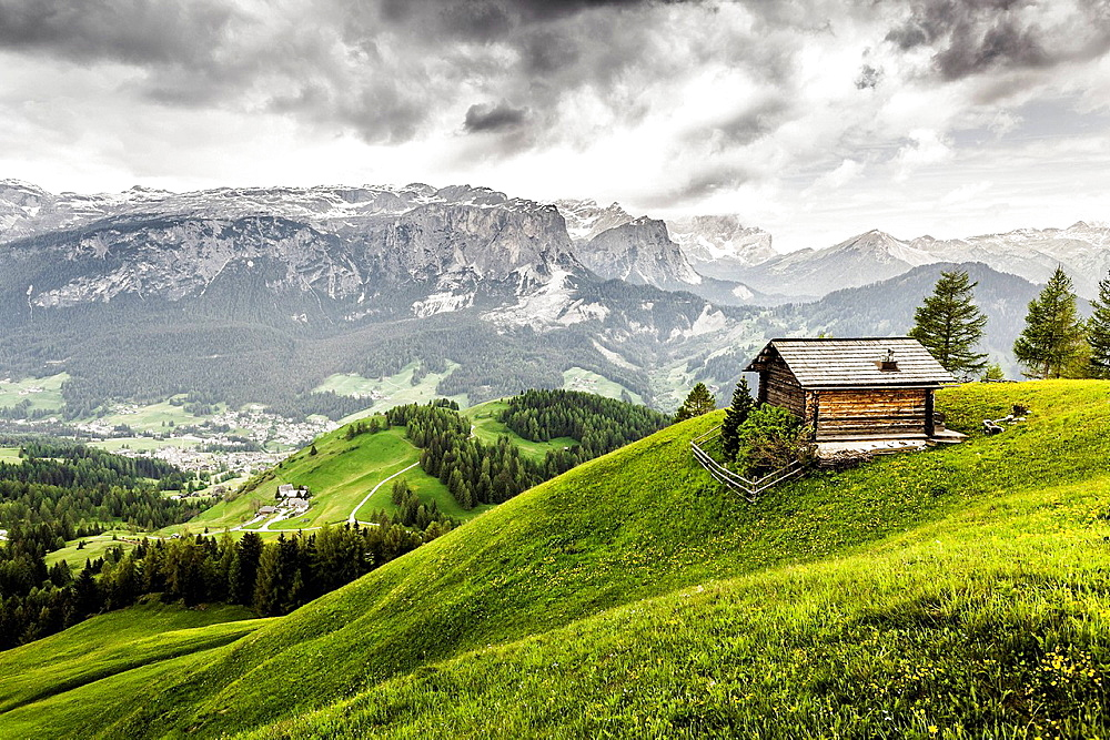 Cabin on hill, Heiligkreuz, Alta Badia South Tyrol, Italy