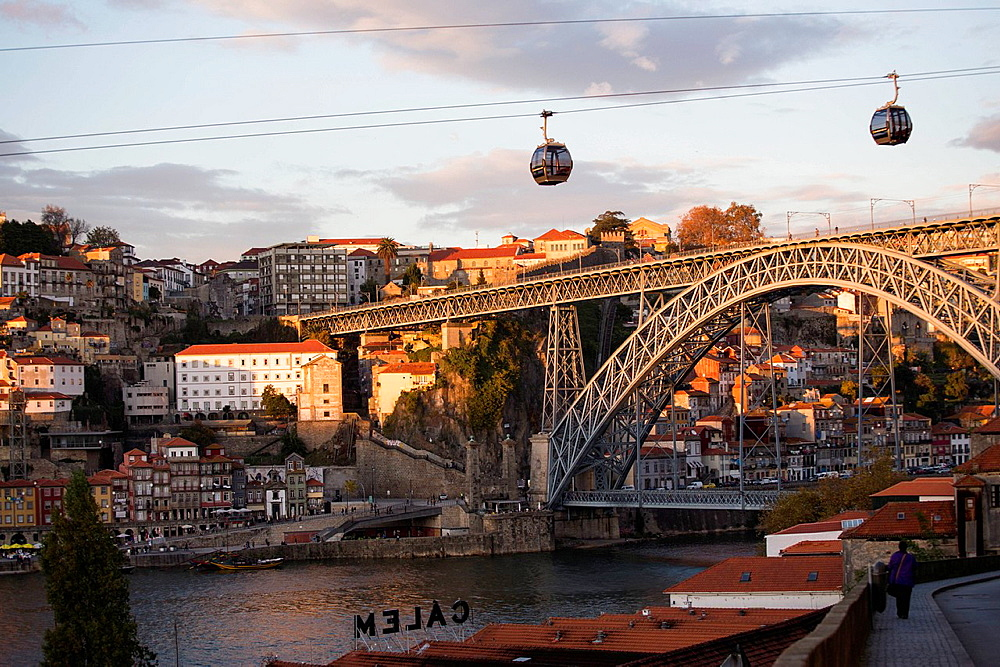 Cable cars over river with bridge, Porto, Portugal
