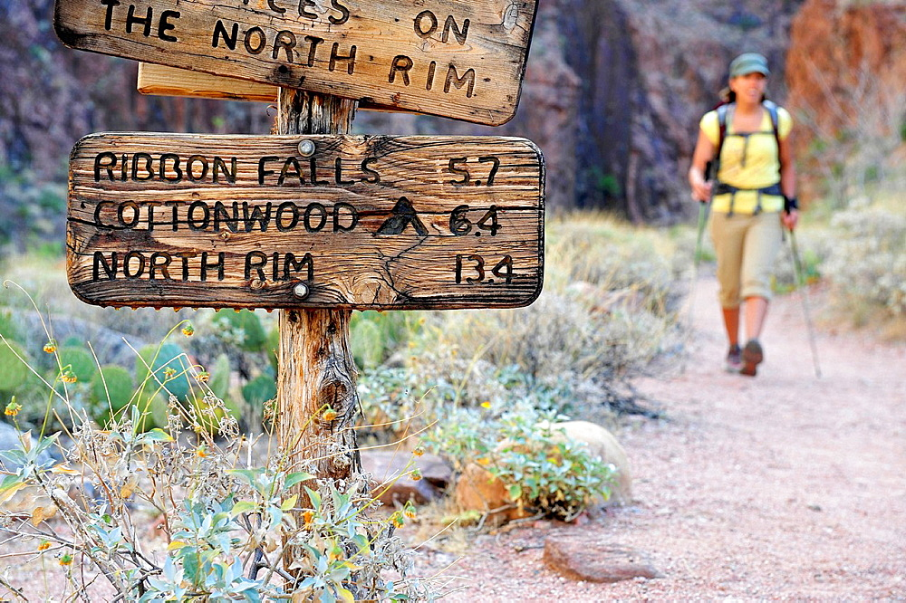 Female hiker and rustic sign, Grand Canyon, Flagstaff, Arizona, USA