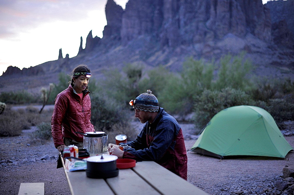 Backpacking couple camping, Apache Junction, Arizona, USA