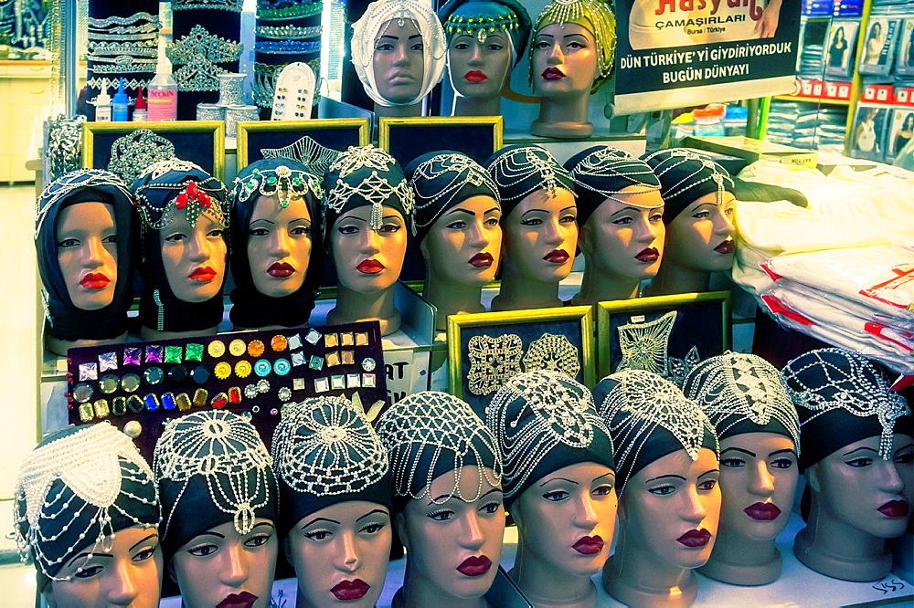 mannequin heads, Istanbul, Turkey.