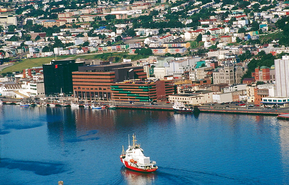 Skyline of the port of Saint John's in Newfoundland and Labrador (Terre-Neuve and Labrador). Canada