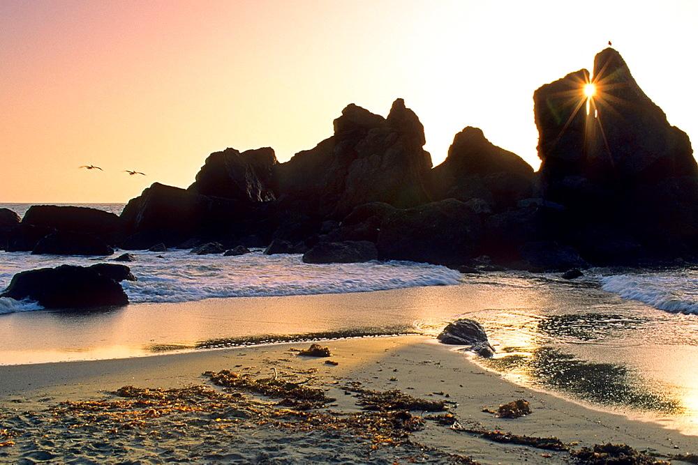 Sunset at Luffenholtz Beach, near Trinidad, Humboldt County, California.